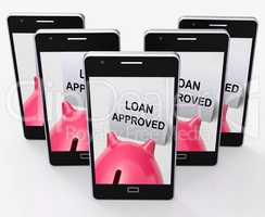 Loan Approved Piggy Bank Means Borrowing Authorised