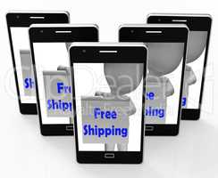 Free Shipping Sign Phone Means Product Shipped At No Cost