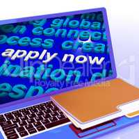 Apply Now Word Cloud Laptop Shows Work Job Applications