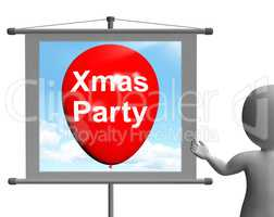 Xmas Party Sign Shows Christmas Festivity and Celebration
