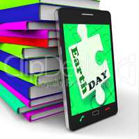 Earth Day Smartphone Means Eco Friendly And Green