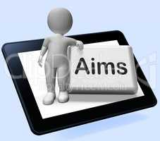 Aims Button With Character Shows Targeting Purpose And Aspiratio