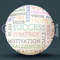 Word Cloud Sphere Shows Road To  Success