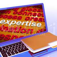 Expertise Word Cloud Laptop Shows Skills Proficiency And Capabil