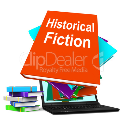 Historical Fiction Book Stack Laptop Means Books From History