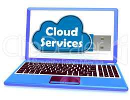 Cloud Services Memory Stick Laptop Shows Internet File Backup An
