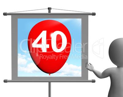 Balloon Shows Fortieth Happy Birthday Celebration
