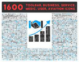 Acquisition Growth Icon with Large Pictogram Collection