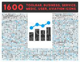 Analytics Icon with Large Pictogram Collection
