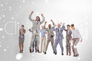 Composite image of very enthusiast business people jumping and r