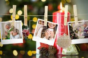 Composite image of christmas photos on a line