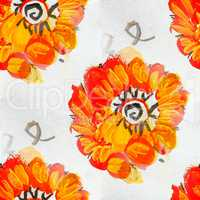 seamless Orange bright flower background watercolor brush color water abstract art
