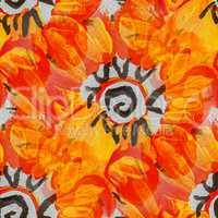 seamless bright orange flower background watercolor brush color water abstract art