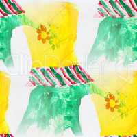 seamless flowers childhood background watercolor brush color water abstract art