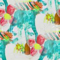 seamless background flowers childhood watercolor brush color water abstract art