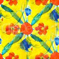 seamless background red yellow flower watercolor brush color water abstract art