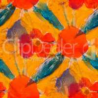 seamless orange flower background  watercolor brush color water abstract art