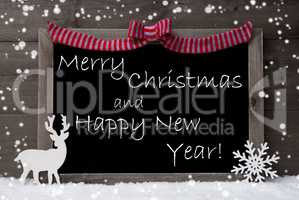 Gray Card, Snowflakes, Loop, Christmas And Happy New Year