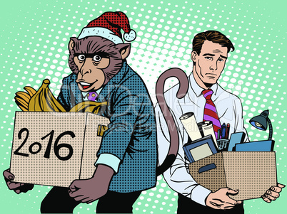 Santa Claus monkey 2016 new year and sad people