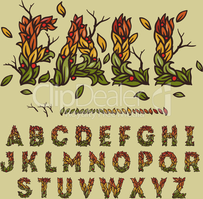 Hand drawn fall alphabet made with leaves, vector illustration.