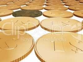 gold dollar coin carpet vector on white