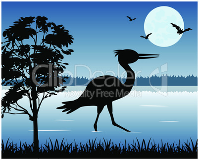 stork on lake.eps