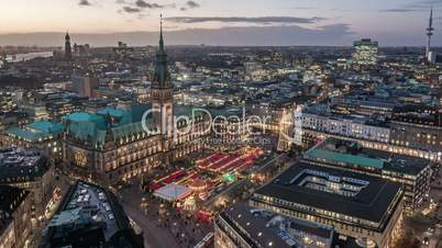 Hamburg Town Hall with Christmas Market Time Lapse