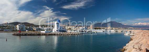 Panorama of Duquesa Harbour, Costa del Sol, Spain