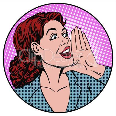 Woman businesswoman calling advertises agitates