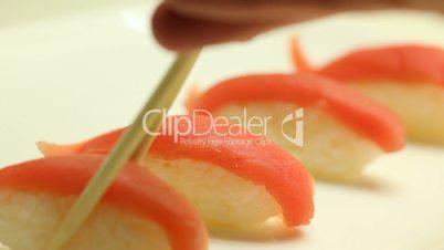 Taking japanese sushi