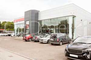 Outside view of car dealership
