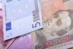Two currencies - ukrainian grivna and european Euro