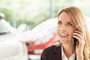 Smiling saleswoman having a phone call