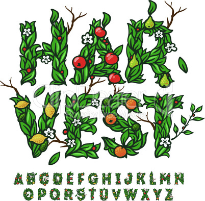 Alphabet made with leaves and fruits, use for fall harvest festival design, vector illustration.