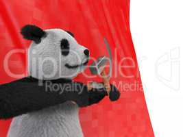 Terrestrial animal panda bear native central China  recognized by large distinctive black patches around eyes over ears across round body black-and-white coat. conservation reliant endangered species