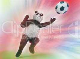 wild panda goalie in the rapid jump trying to catch a soccer ball on a colorful watercolor background blurred. upright character Bear goalkeeper catches pitch.