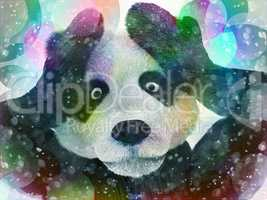 sick character panda bamboo junkie experiencing strong hallucinations and fear closes the muzzle paws. Psychedelic condition of the animal.