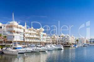 Benalmadena Harbour, Costa del Sol, Spain with Yachts