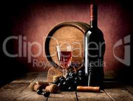 Purple grape and wine