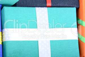 bright gifts with ribbons, holiday invitation card