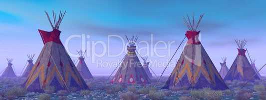 Indianerlager im Morgengrauen