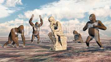 Denker Skulptur und Gorillas