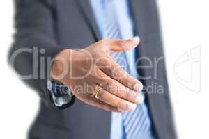 Indian business people hand offering handshake