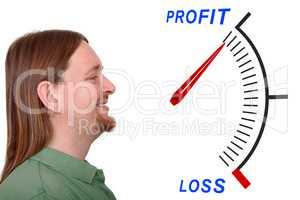Man on profit or loss indicator