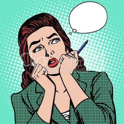 woman thinks work businesswoman