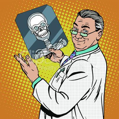 doctor surgeon x-rays skull
