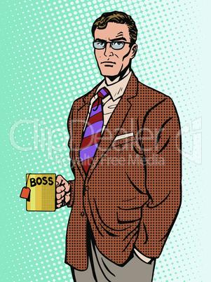 Serious businessman boss mug tea