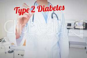 Type 2 diabetes against empty bed in the hospital room