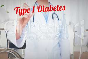 Type 1 diabetes against bright white room with windows
