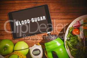 Blood sugar against tablet on healthy persons table